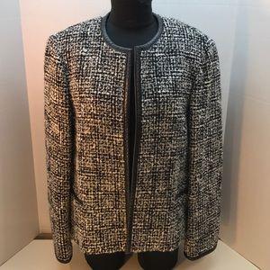 Jones NY Black & White Jacket Leather Trim Size 16